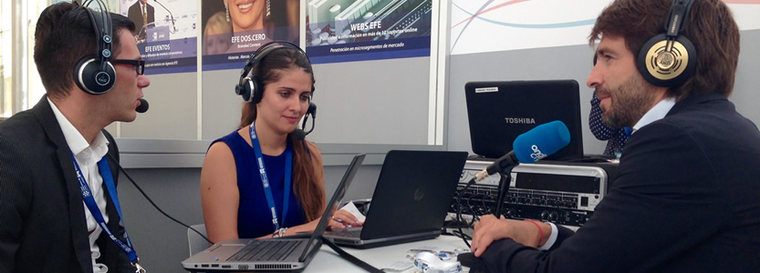 Sergi Guillot, CEO , Acceso Group, is interviewed by the conference radio station at the World PR Forum, in Madrid. It was another top speaker platform in AMEC's Global Education Programme.